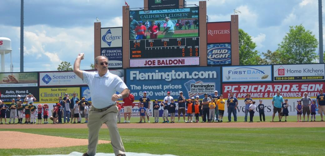 Joseph E. Baldoni, MAI throws first pitch at Somerset Patriots game
